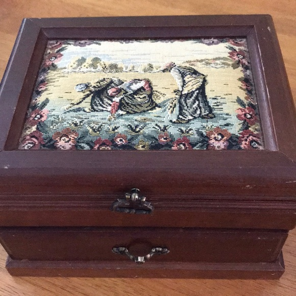 Vintage tapestry musical jewelry box